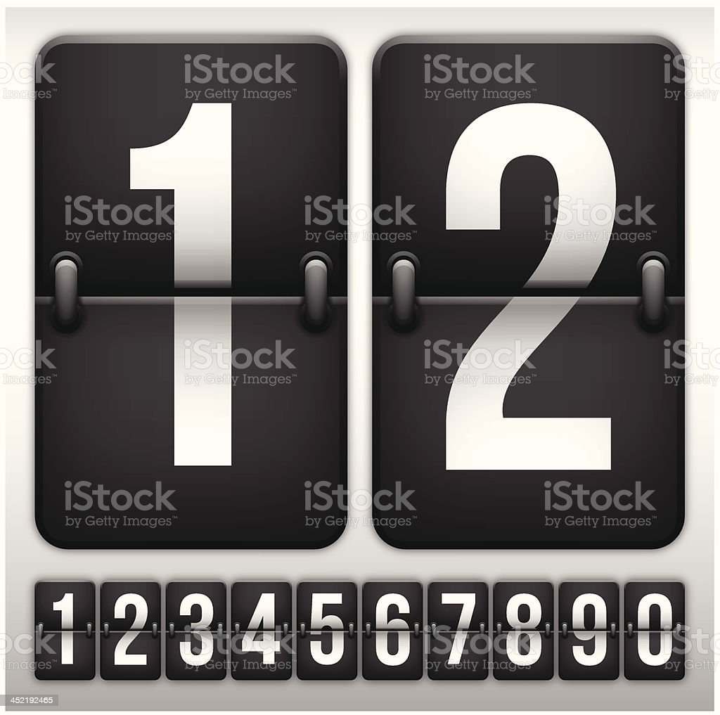 Flip Clock Numbers vector art illustration