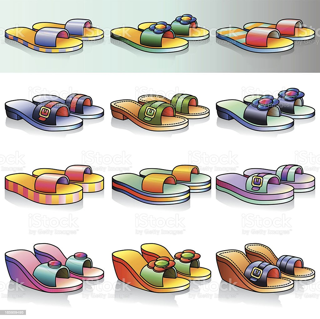 Flip Flop Sandals & Wedges Icon Set royalty-free stock vector art