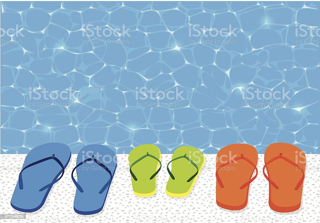 Flip Flops And Swimming Pool vector art illustration