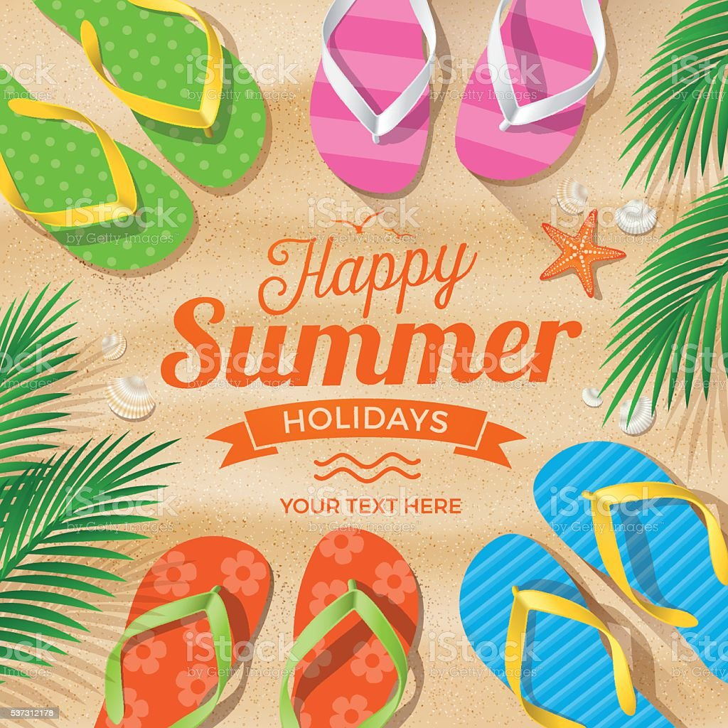 Flip Flops colored on Summer Beach vector art illustration