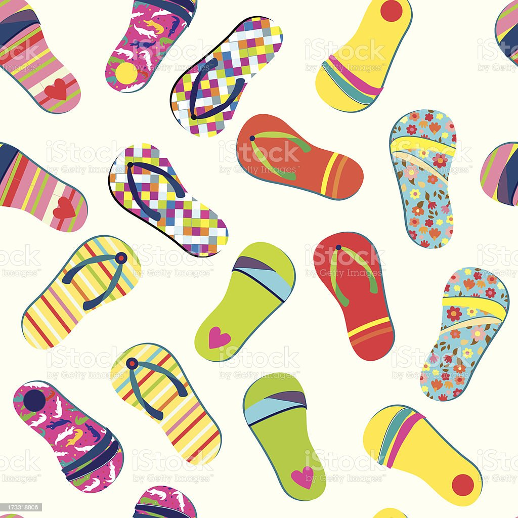 Flip flops summer seamless pattern royalty-free stock vector art
