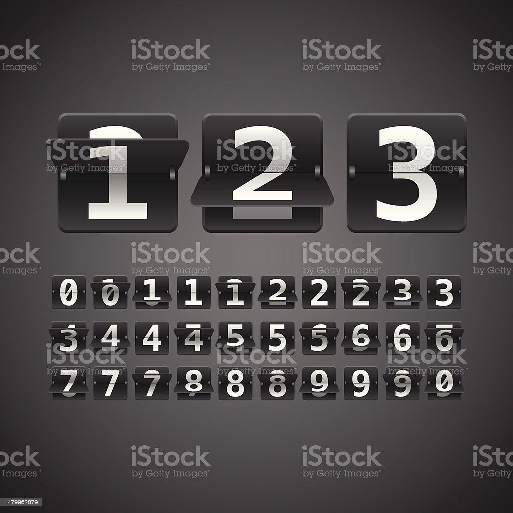 Flip Numbers Set vector art illustration
