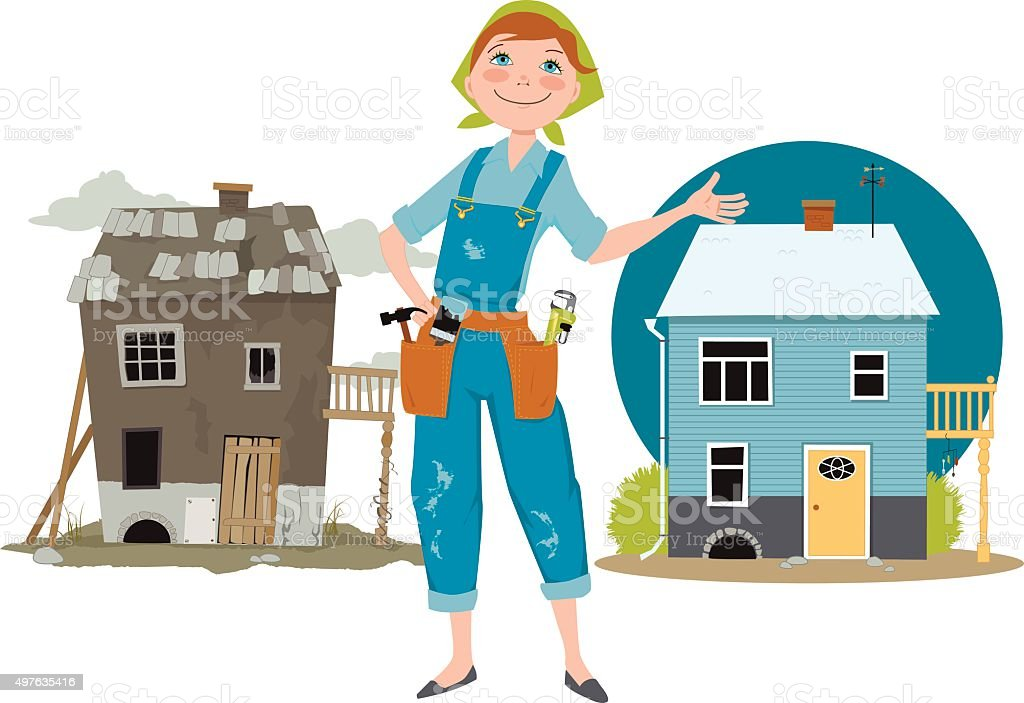 Flip that house vector art illustration