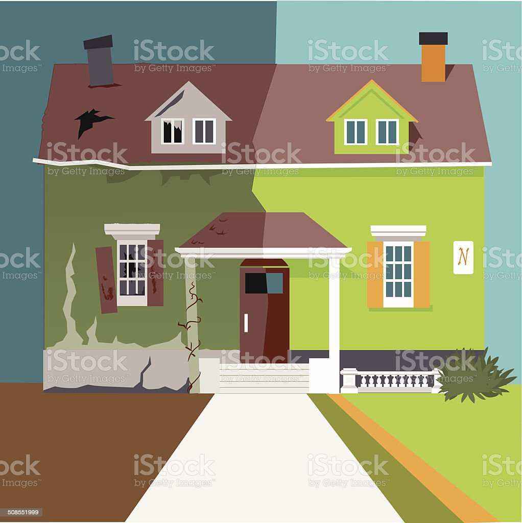 Flip the house vector art illustration