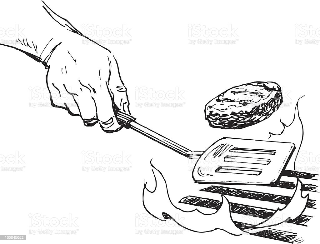 Flipping Hamburger or Grilling, Cook Out royalty-free stock vector art