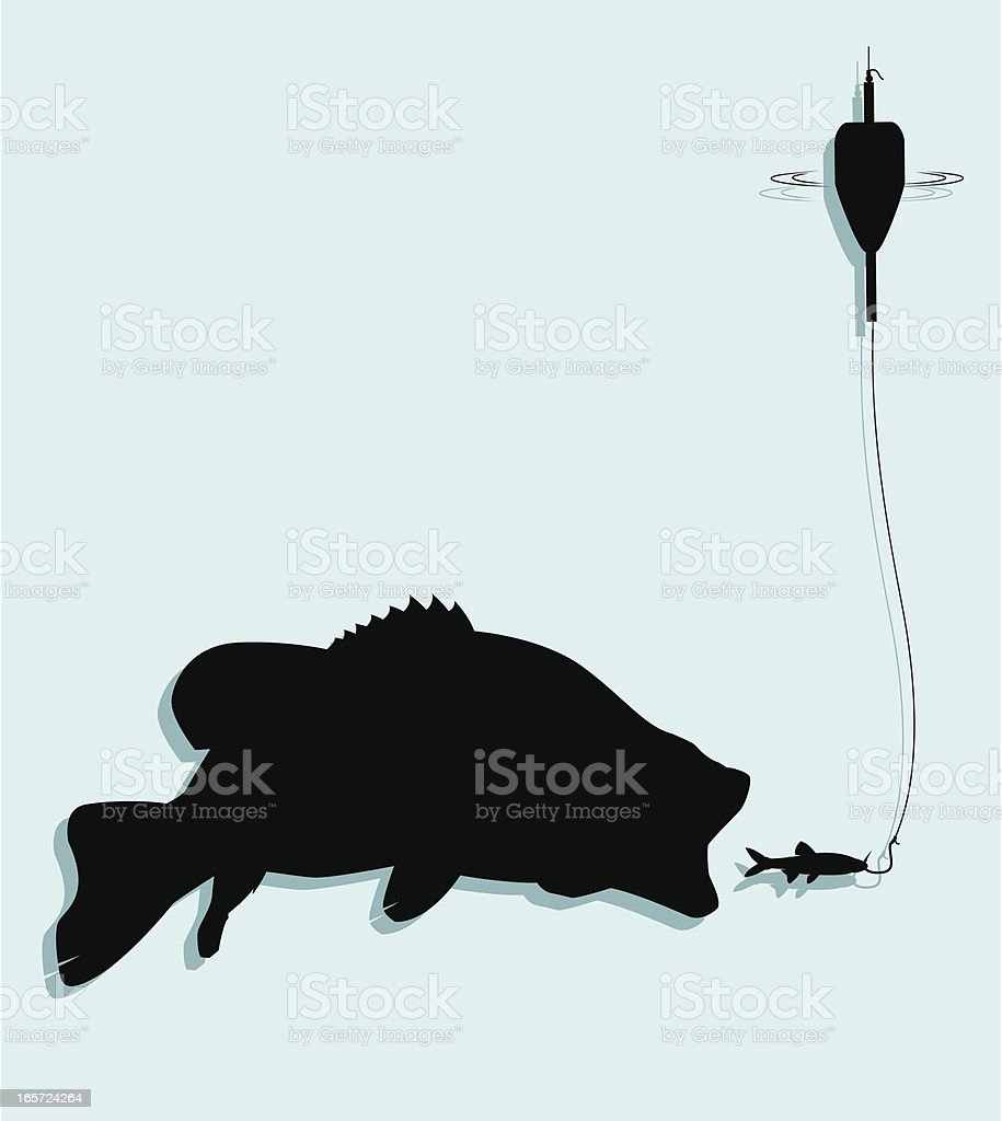 Float Fishing For Bass vector art illustration