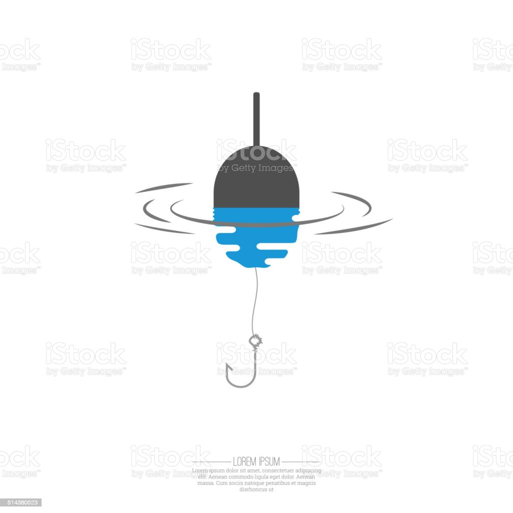 Float, fishing line and hook. vector art illustration
