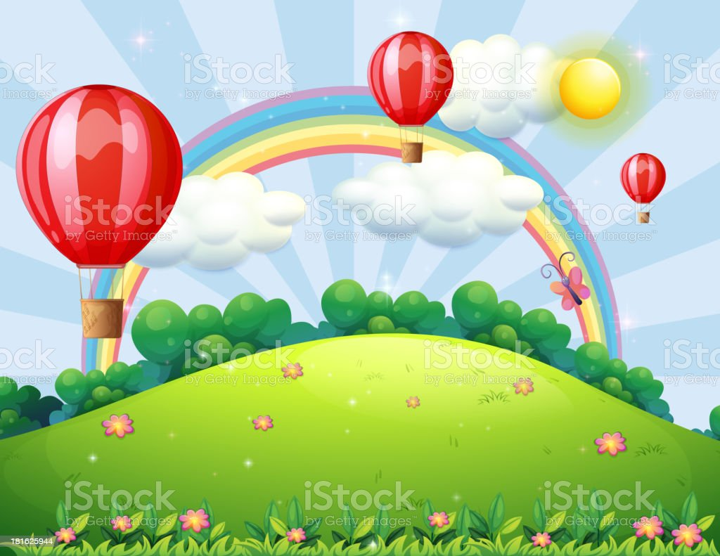 Floating balloons at the hilltop with a rainbow royalty-free stock vector art