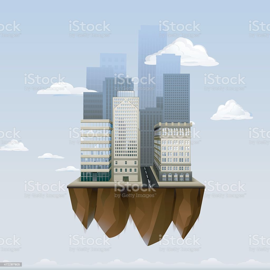 Floating City vector art illustration
