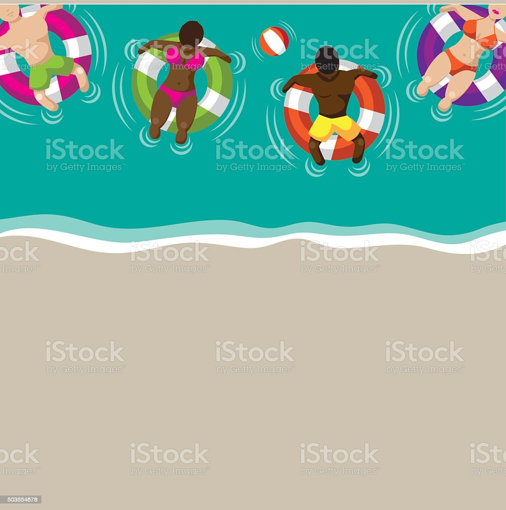 Floating couples on inner tubes flat design background vector art illustration