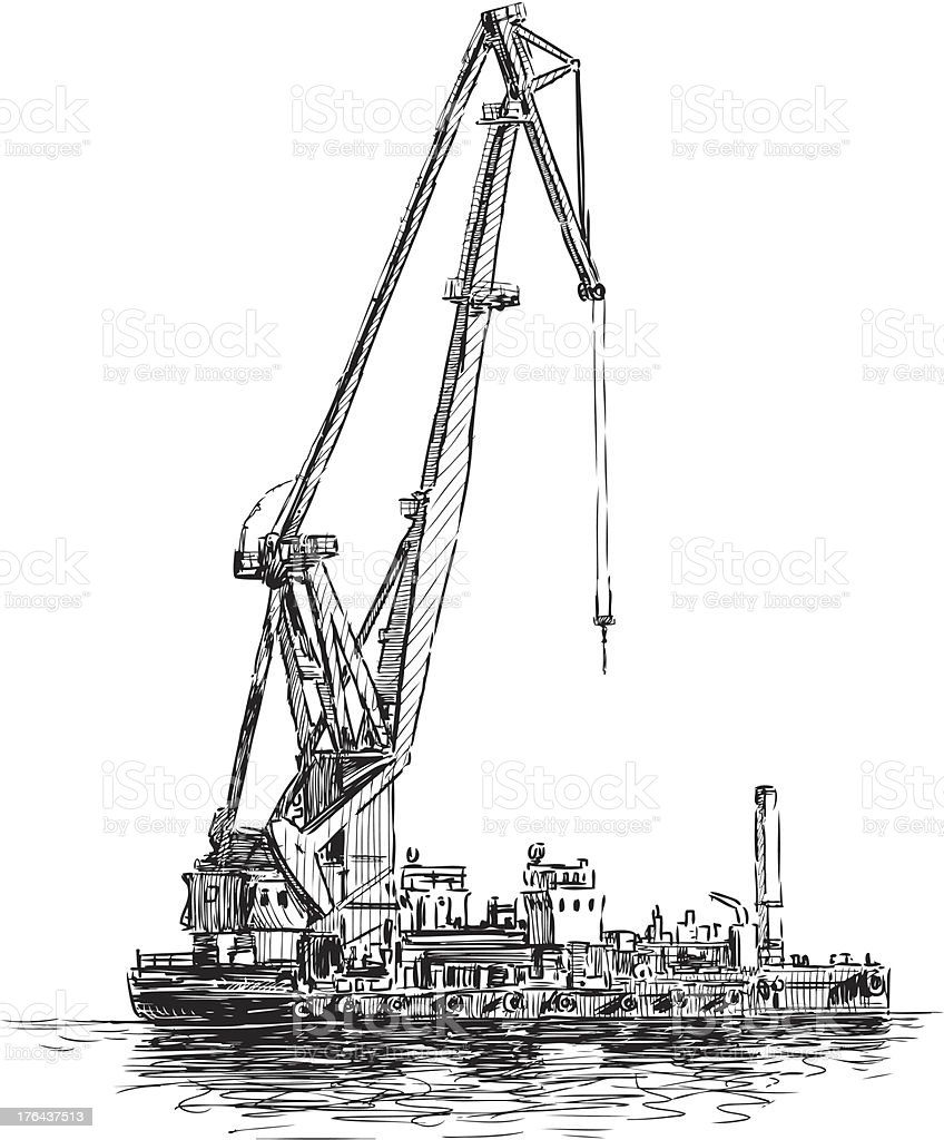 floating crane royalty-free stock vector art