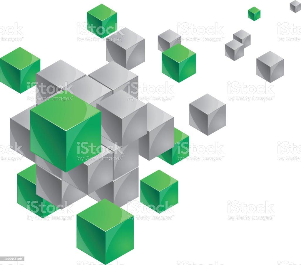 Floating cubes vector art illustration