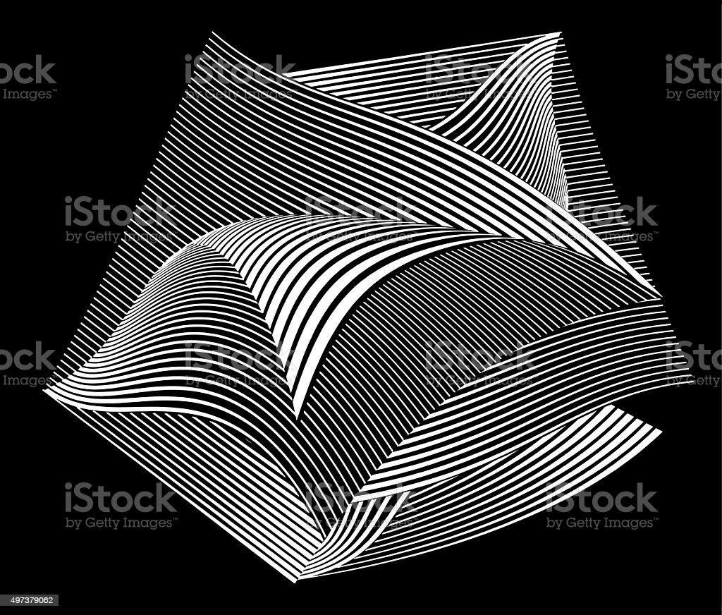 Floating Curled Pages with Striped Halftonr Pattern vector art illustration