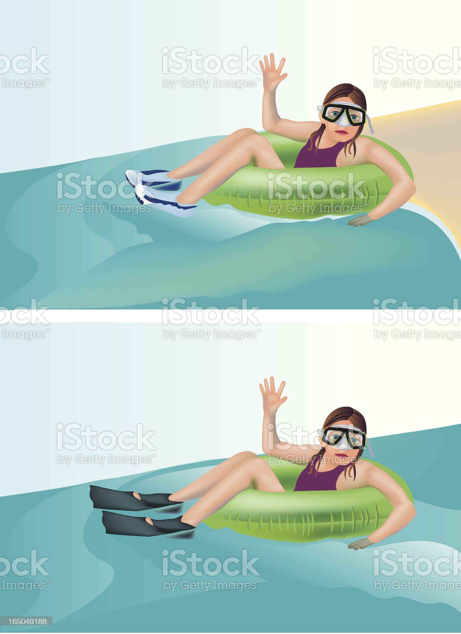 Floating girl on two backgrounds royalty-free stock vector art