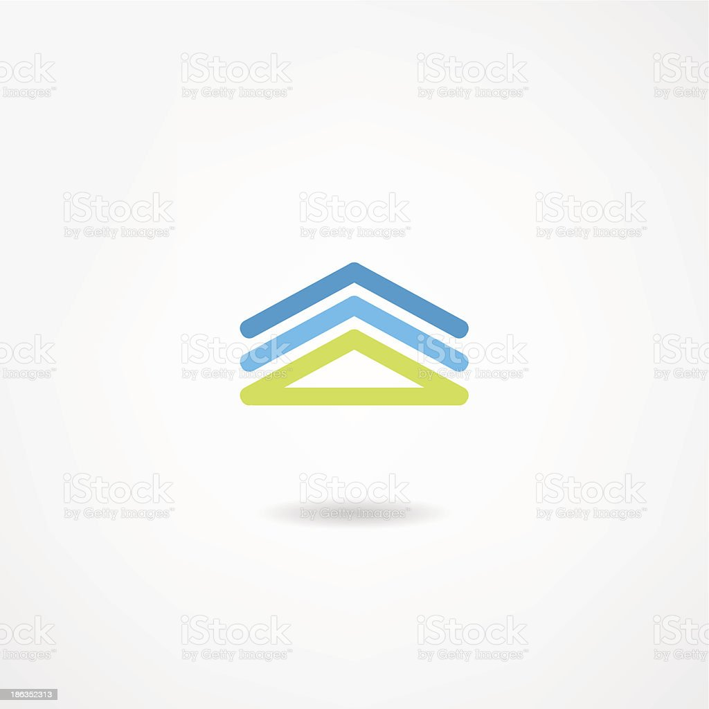 Floating green and blue triangle icon representing a house royalty-free stock vector art