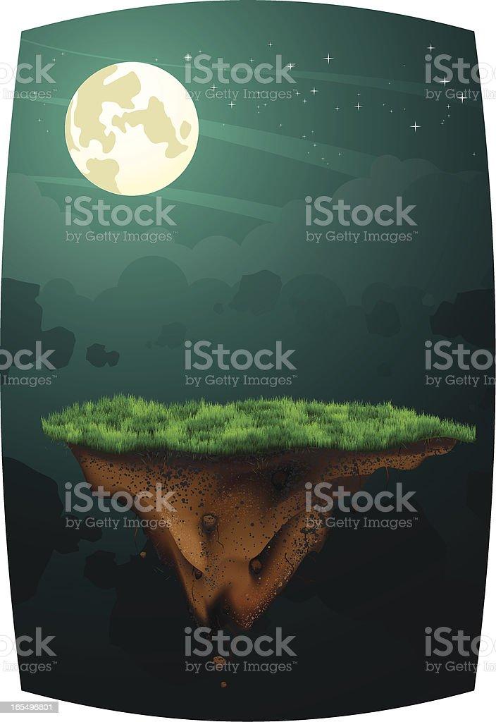 Floating Ground: Dark Landscape royalty-free stock vector art