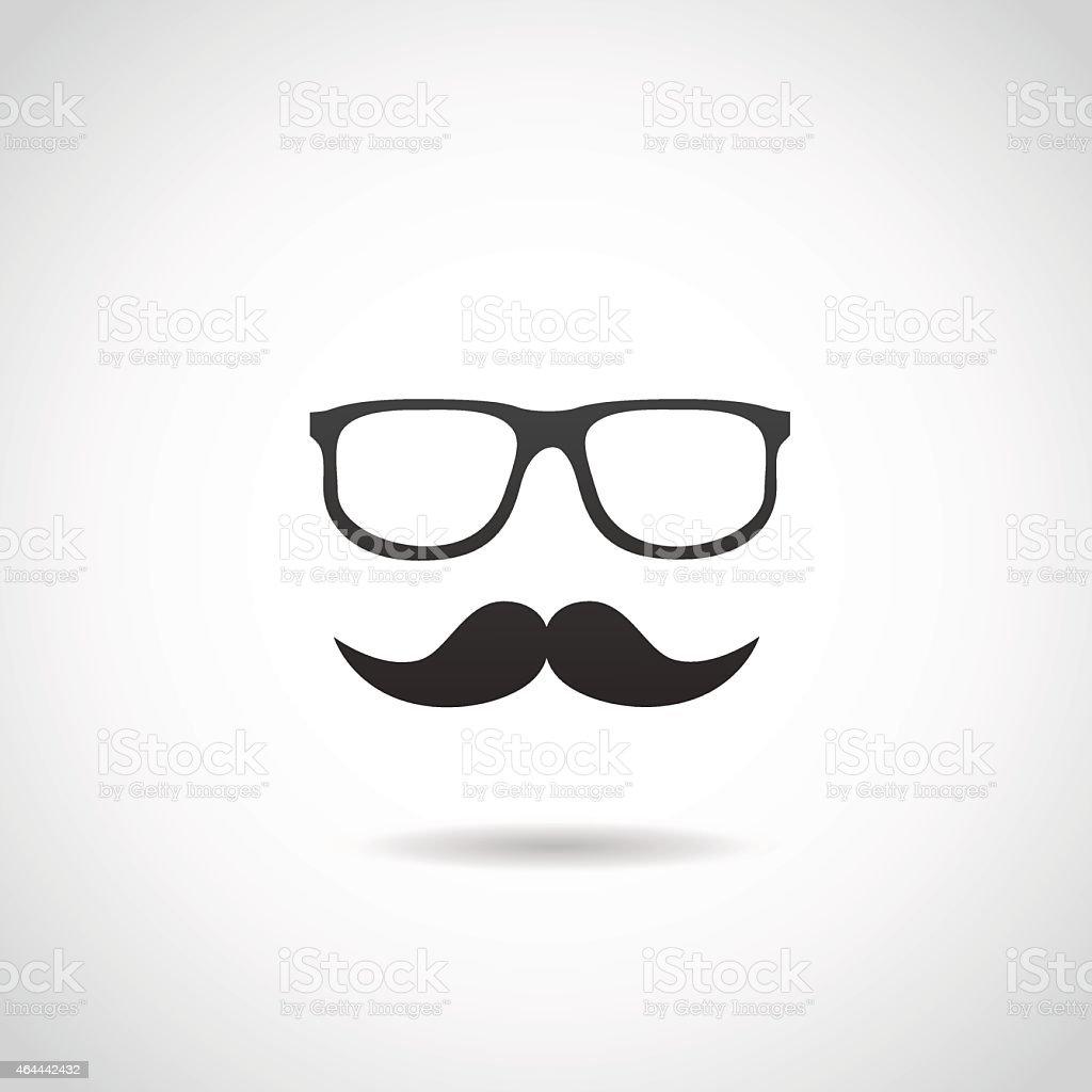 Floating hipster glasses and mustache vector art illustration