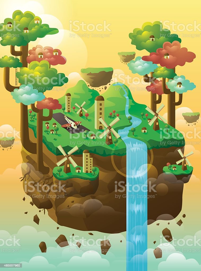 Floating Island vector art illustration