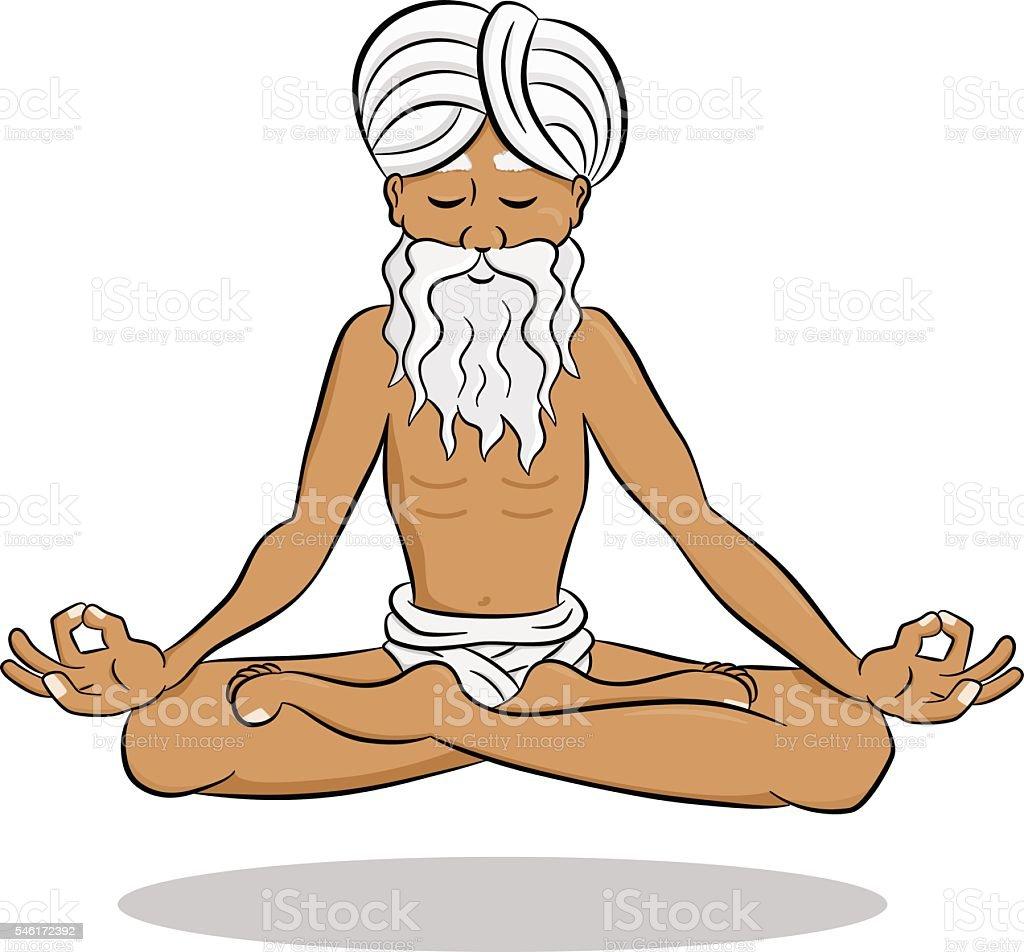 floating meditating yogi vector art illustration