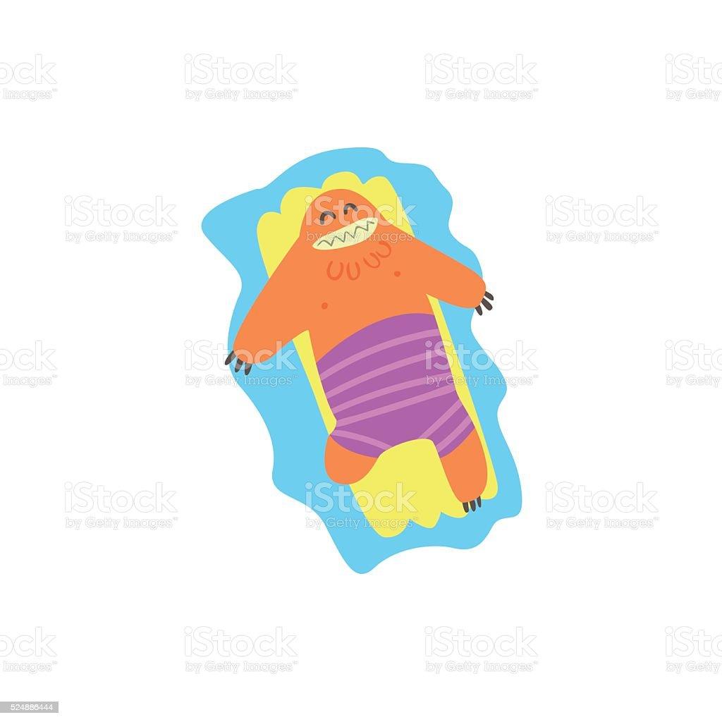 Floating On Matrass Monster  The Beach vector art illustration