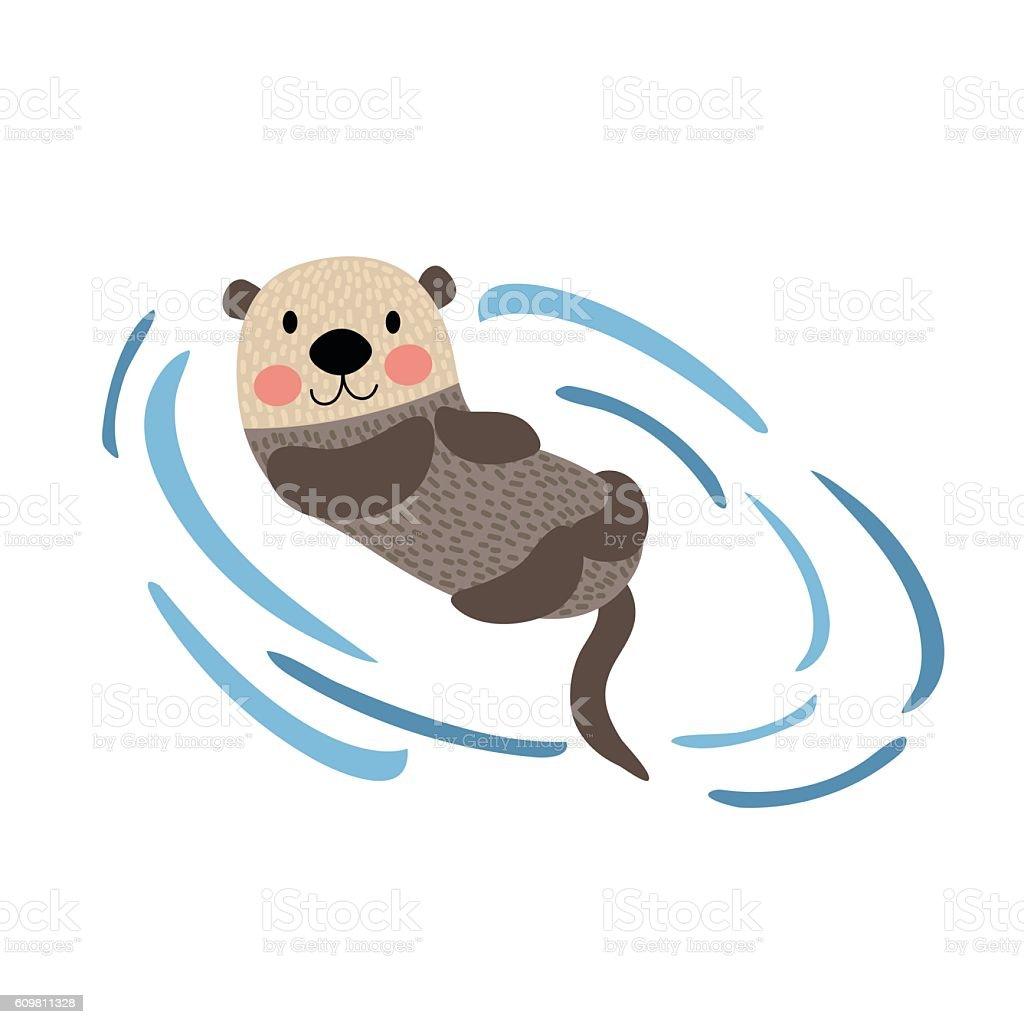 Floating Otter animal cartoon character vector illustration. vector art illustration