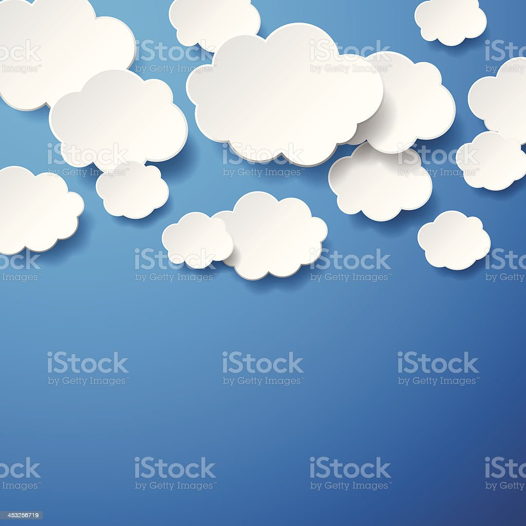 Floating Paper Clouds Background vector art illustration