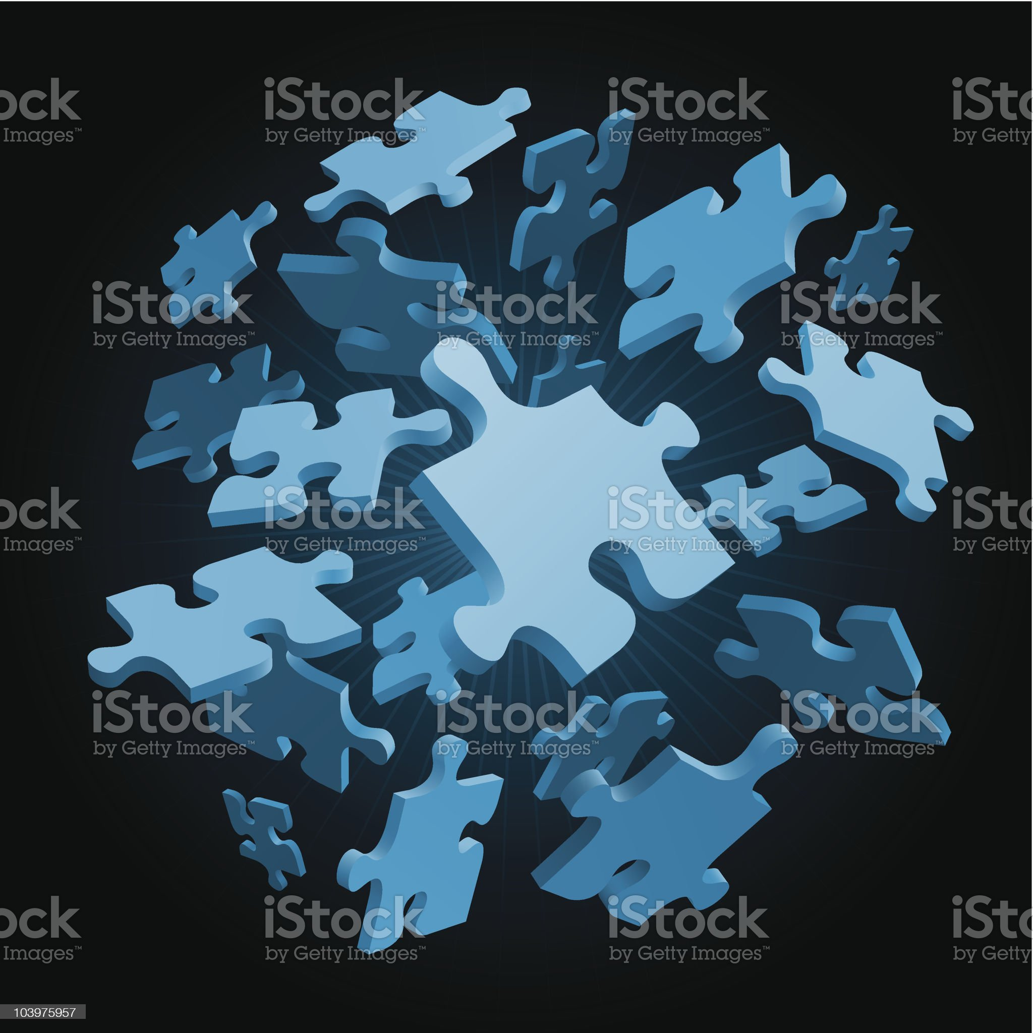 Floating puzzle pieces royalty-free stock vector art