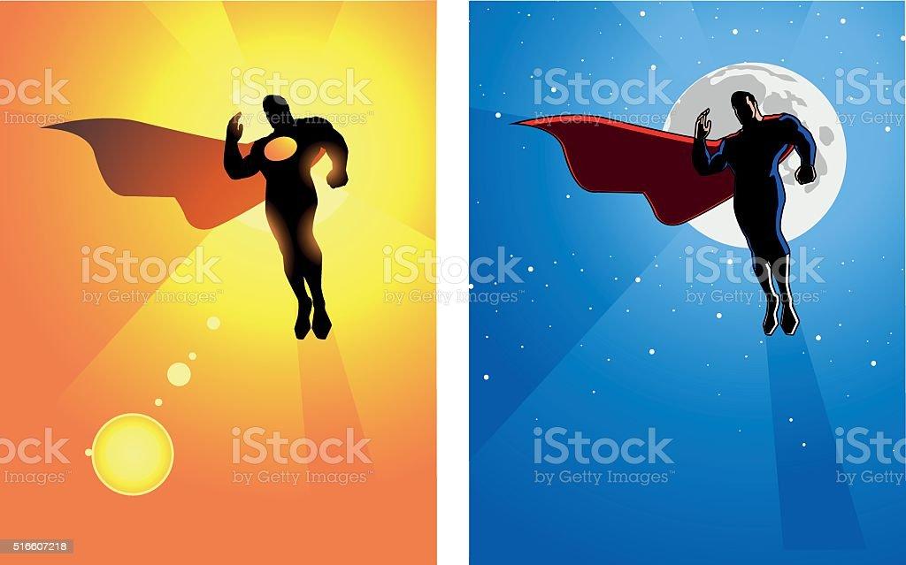 Floating Superhero Silhouette vector art illustration