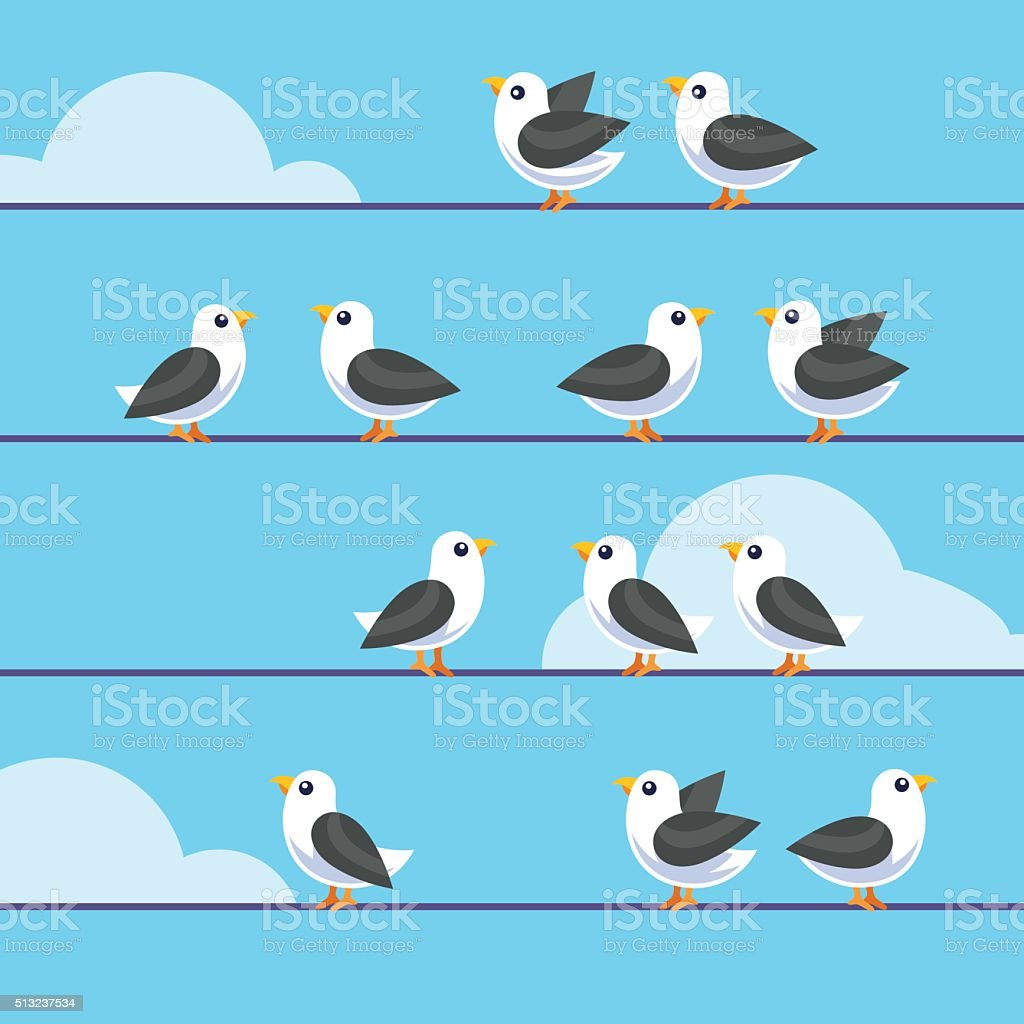 Flock of birds sitting on a wires vector art illustration