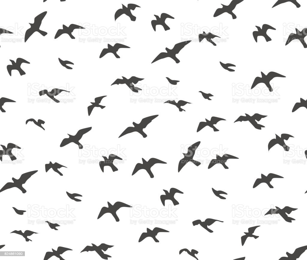 Set of sketches of flying swallows stock vector illustration - A Flock Of Flying Birds Gray Silhouette Dove Seagull Sketch Set Abstract Bird