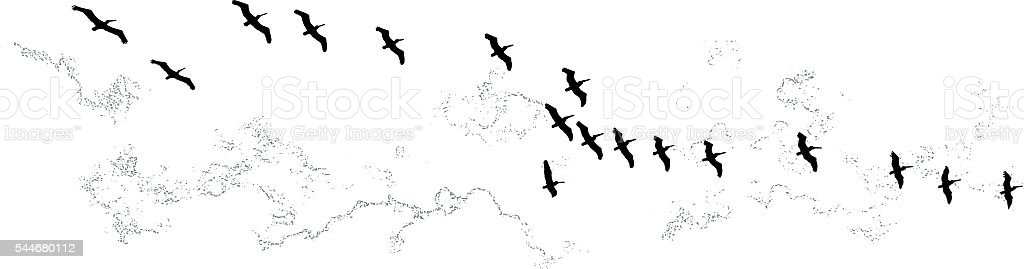 Flock of sea birds flying in formation. Isolated on white. vector art illustration