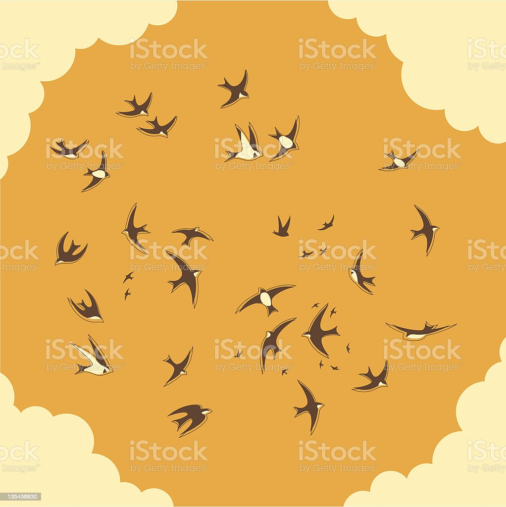 Flock of swallows royalty-free stock vector art