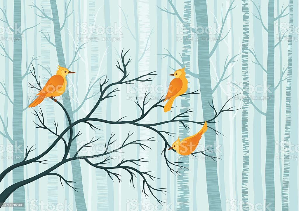 Flock of yellow birds on winter branch royalty-free stock vector art