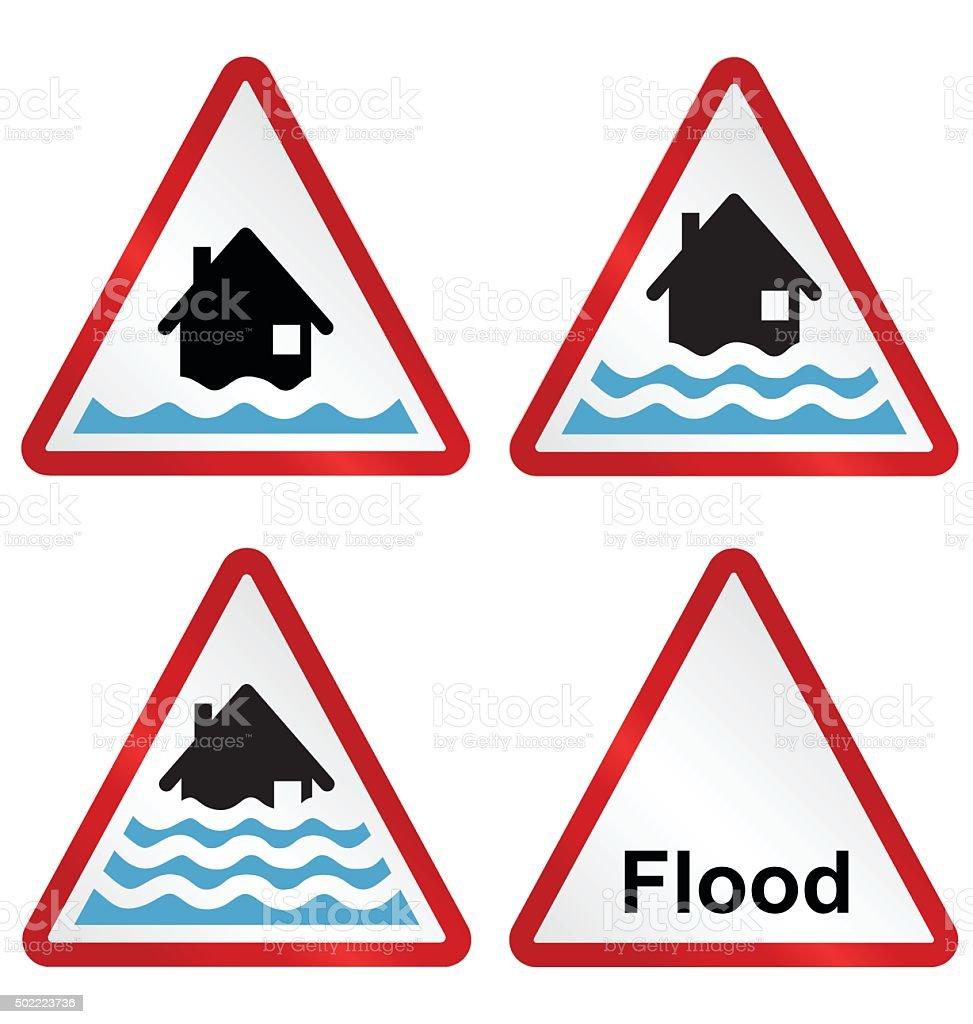 Flood warning sign collection vector art illustration