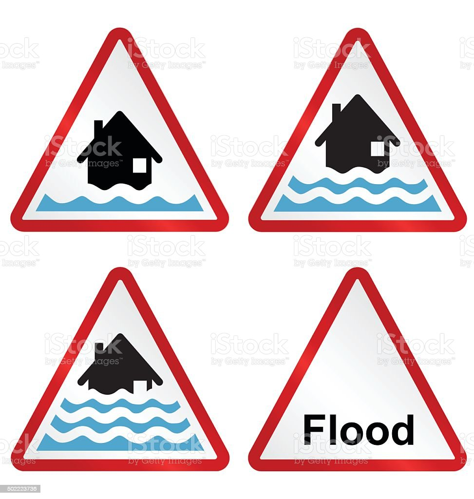 Flood warning sign collection vector art illustration