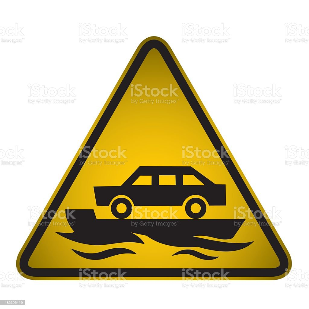 Flooded Road Sign- Vector royalty-free stock vector art
