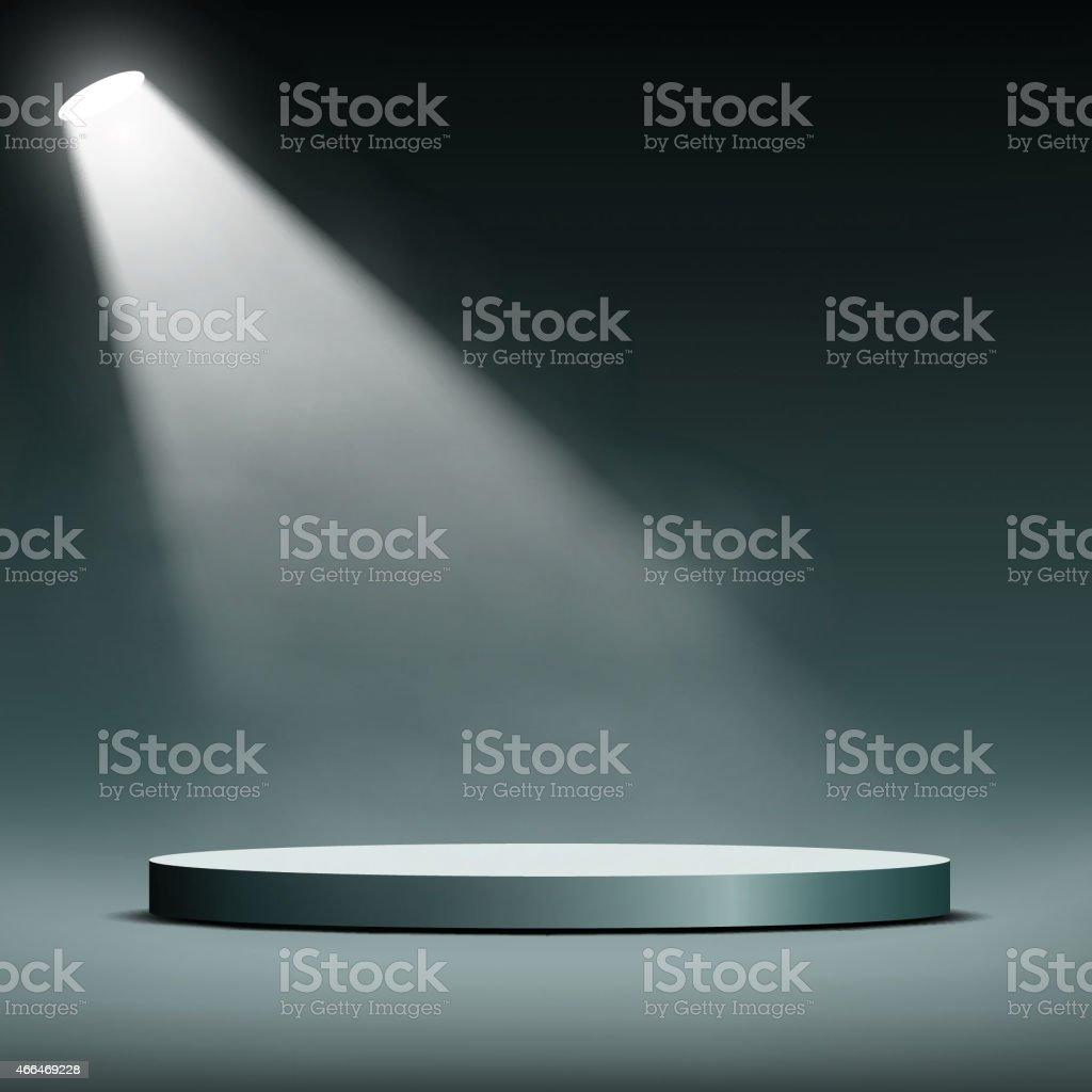 floodlight illuminates a pedestal for presentation vector art illustration