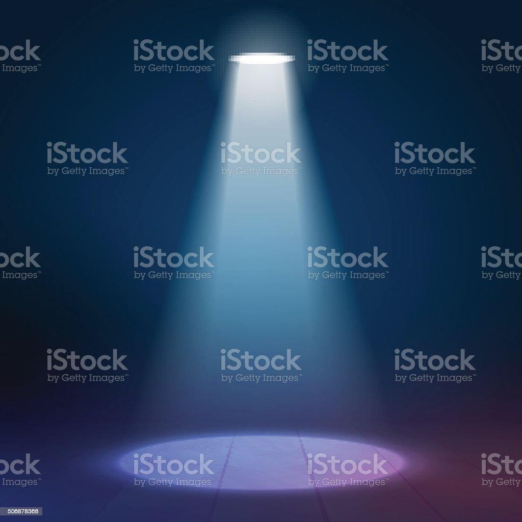 Floodlight spotlight illuminates wooden scene. Vector illustartion vector art illustration