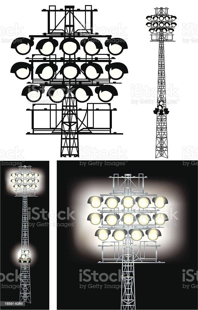 Floodlights - Stadium Lights vector art illustration