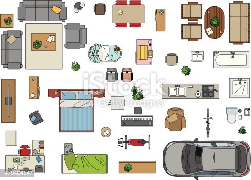 Floor Plan Furniture Stock Vector Art 475404547 IStock