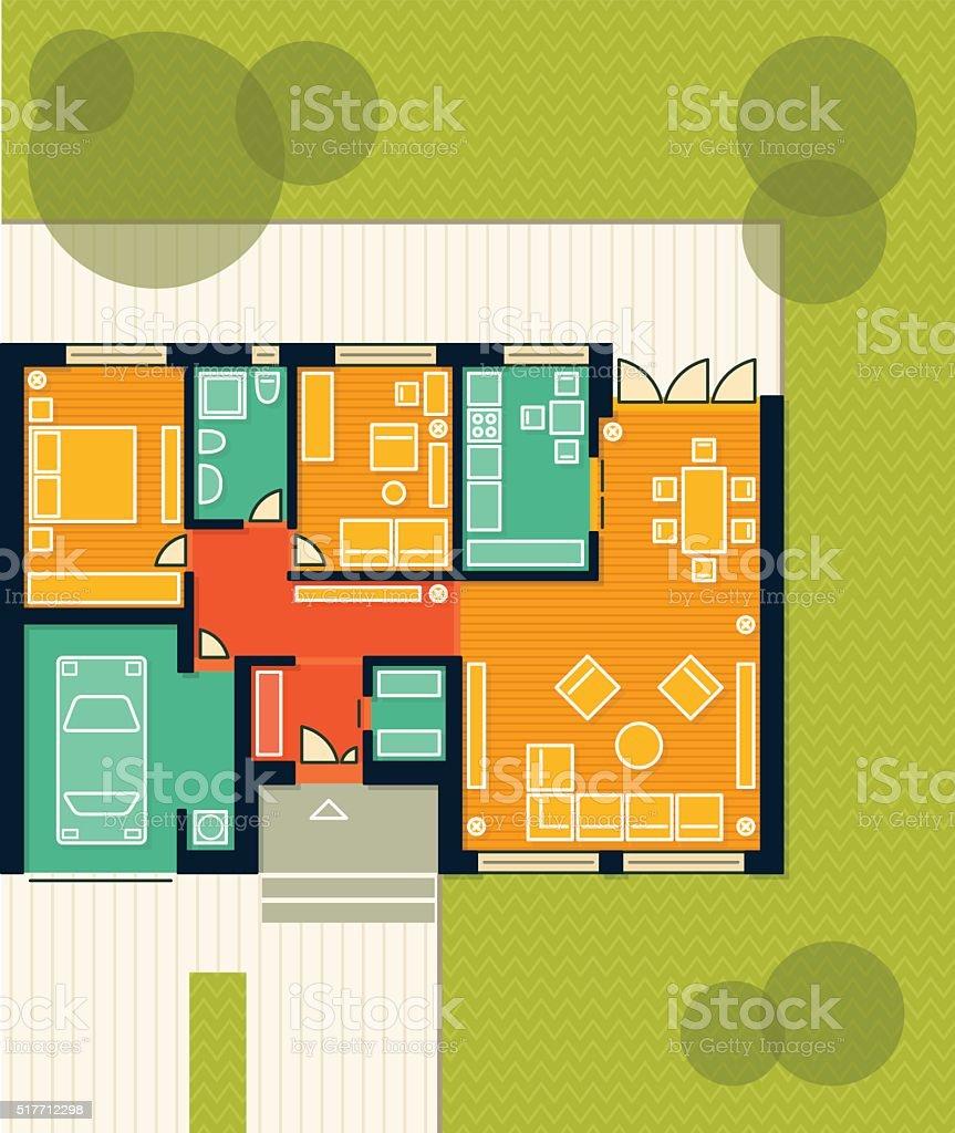 Floor Plan of a House vector art illustration