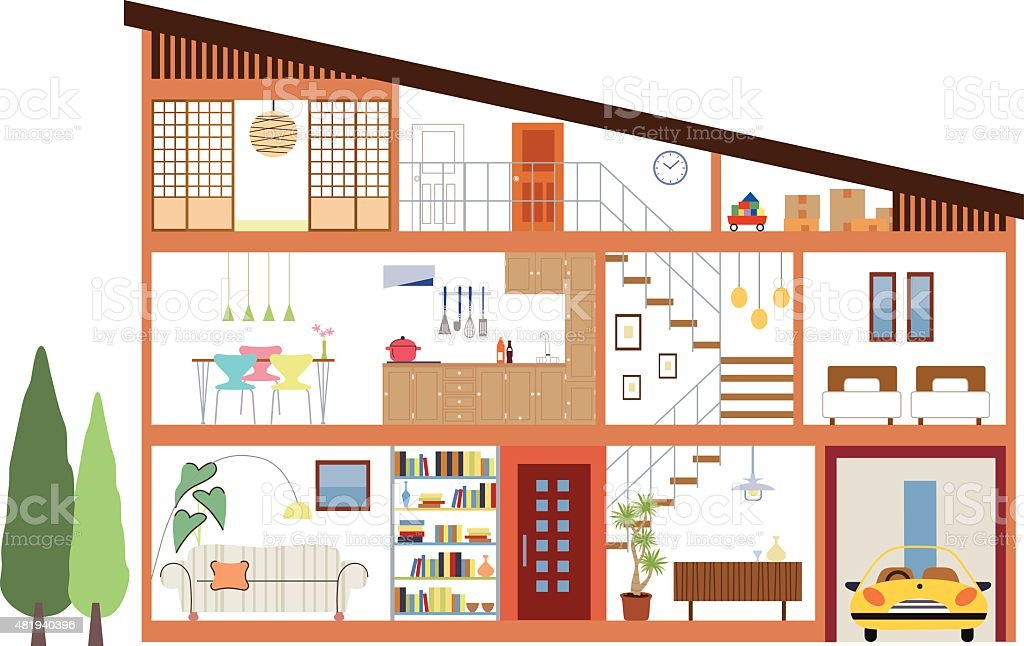 floor plan vector art illustration