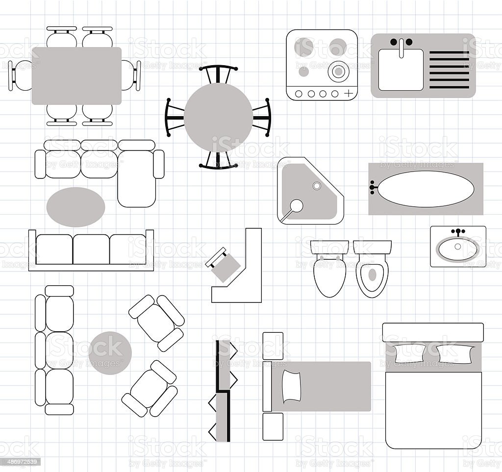floor plan with furniture vector art illustration
