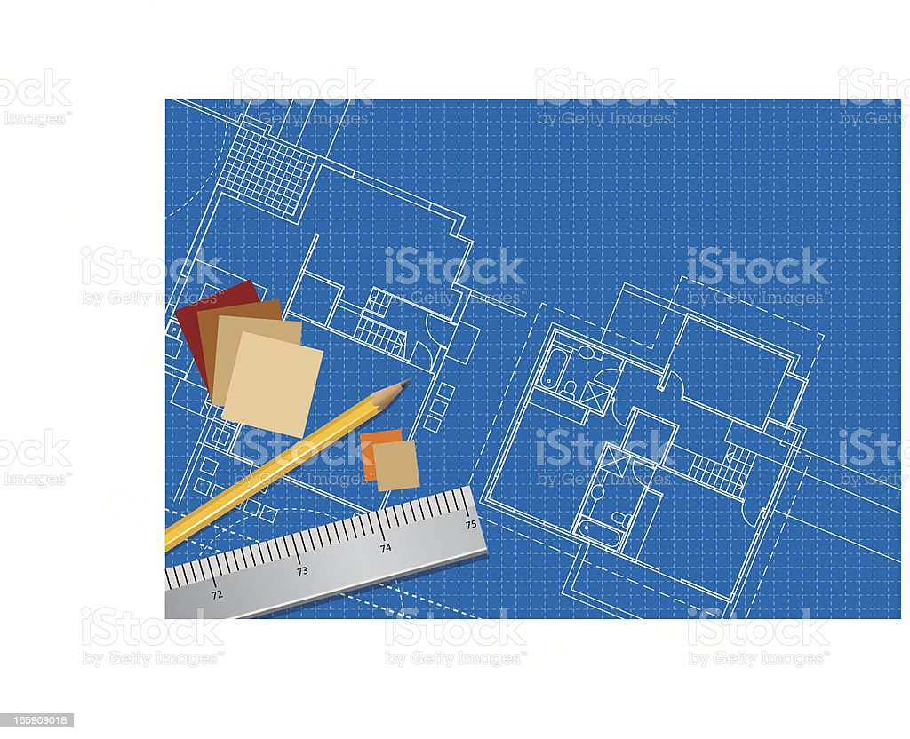 Floor Plans Blueprint royalty-free stock vector art