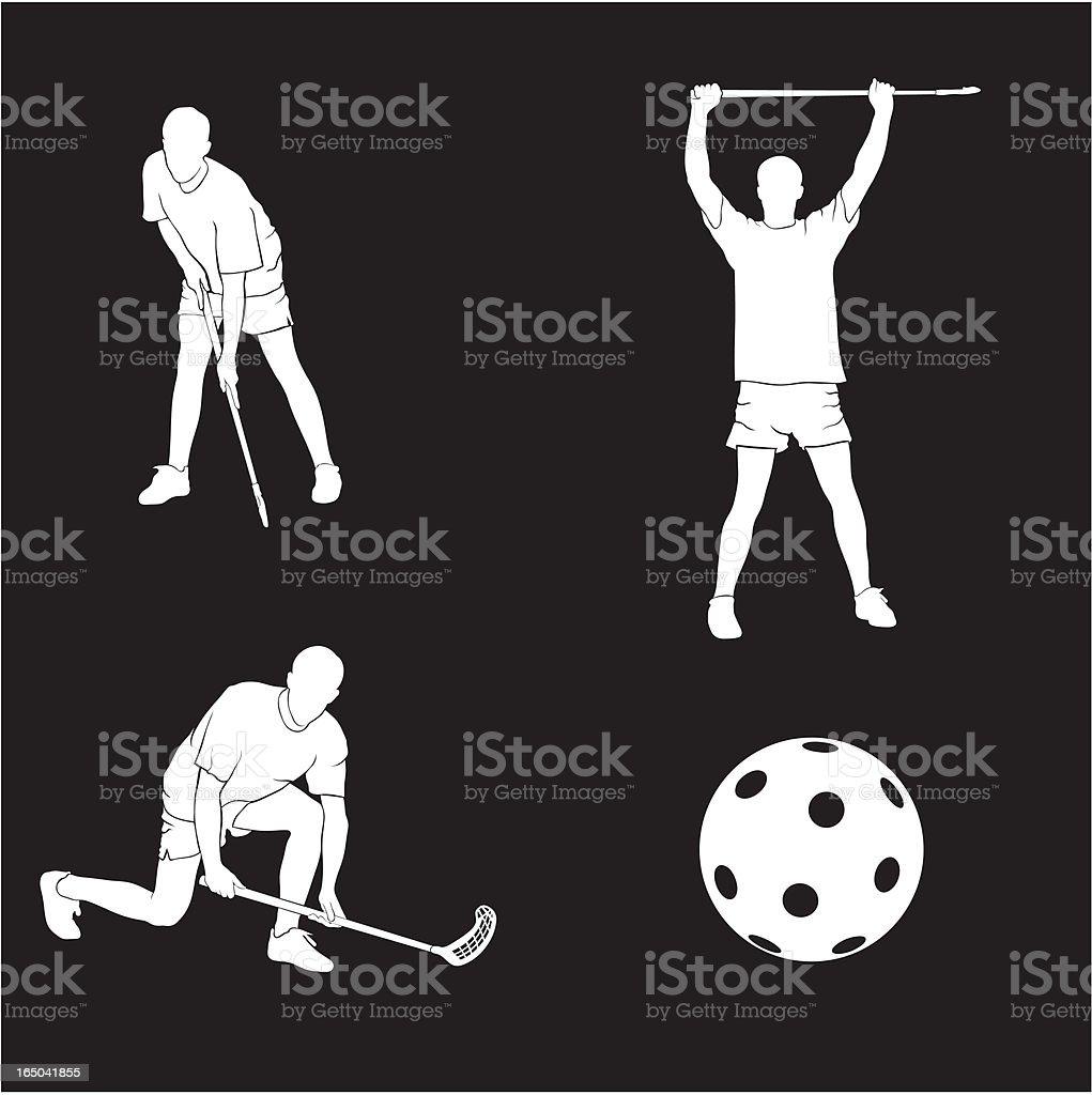 floorball vector art illustration