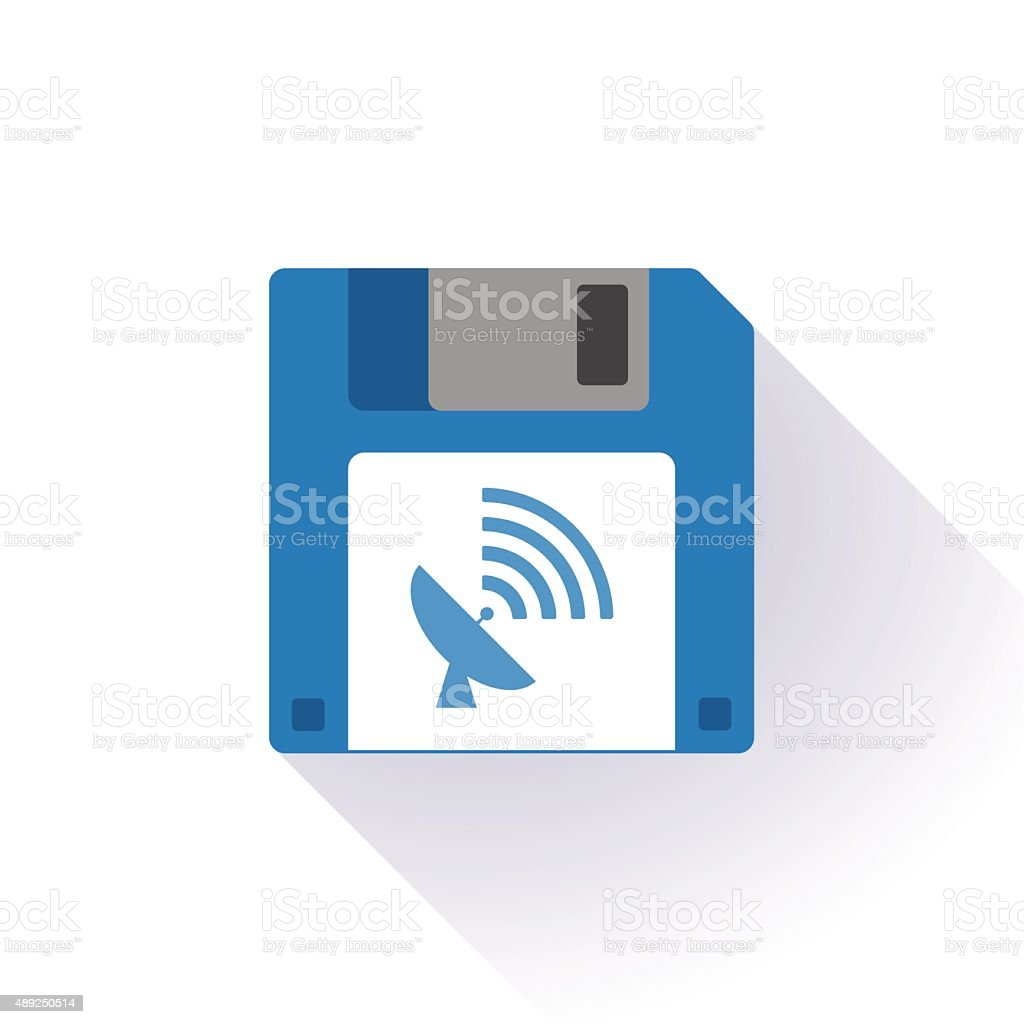 Floppy disk with an antenna vector art illustration