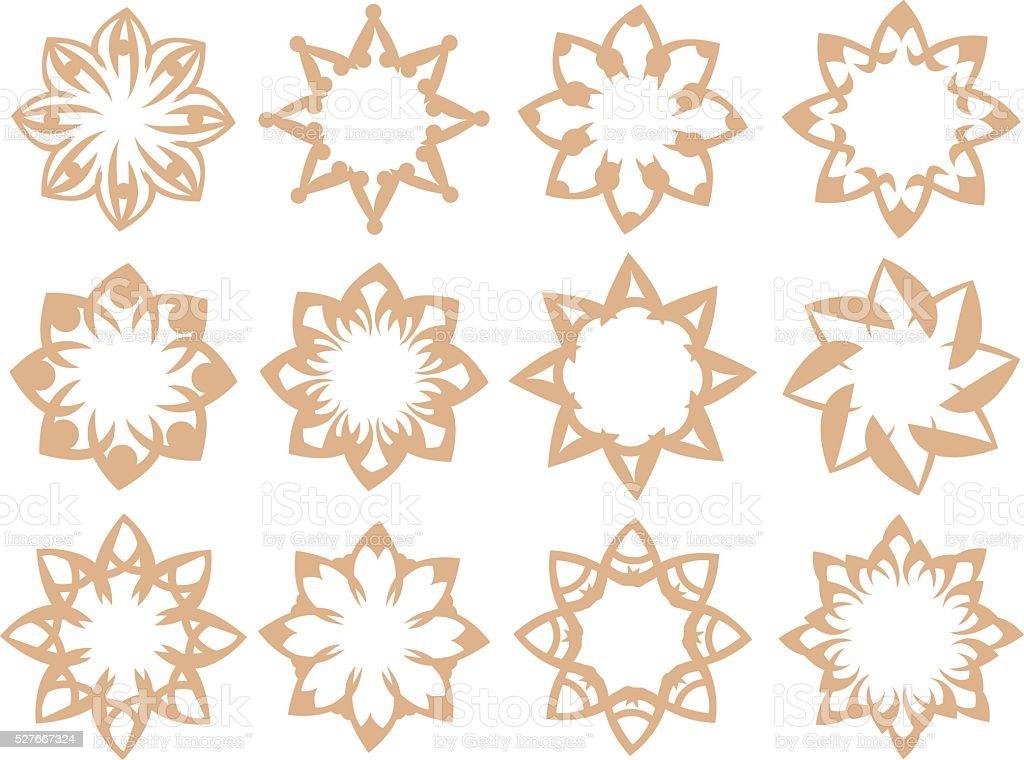 Flora Pattern Vector Design Elements in Soft Brown Color vector art illustration