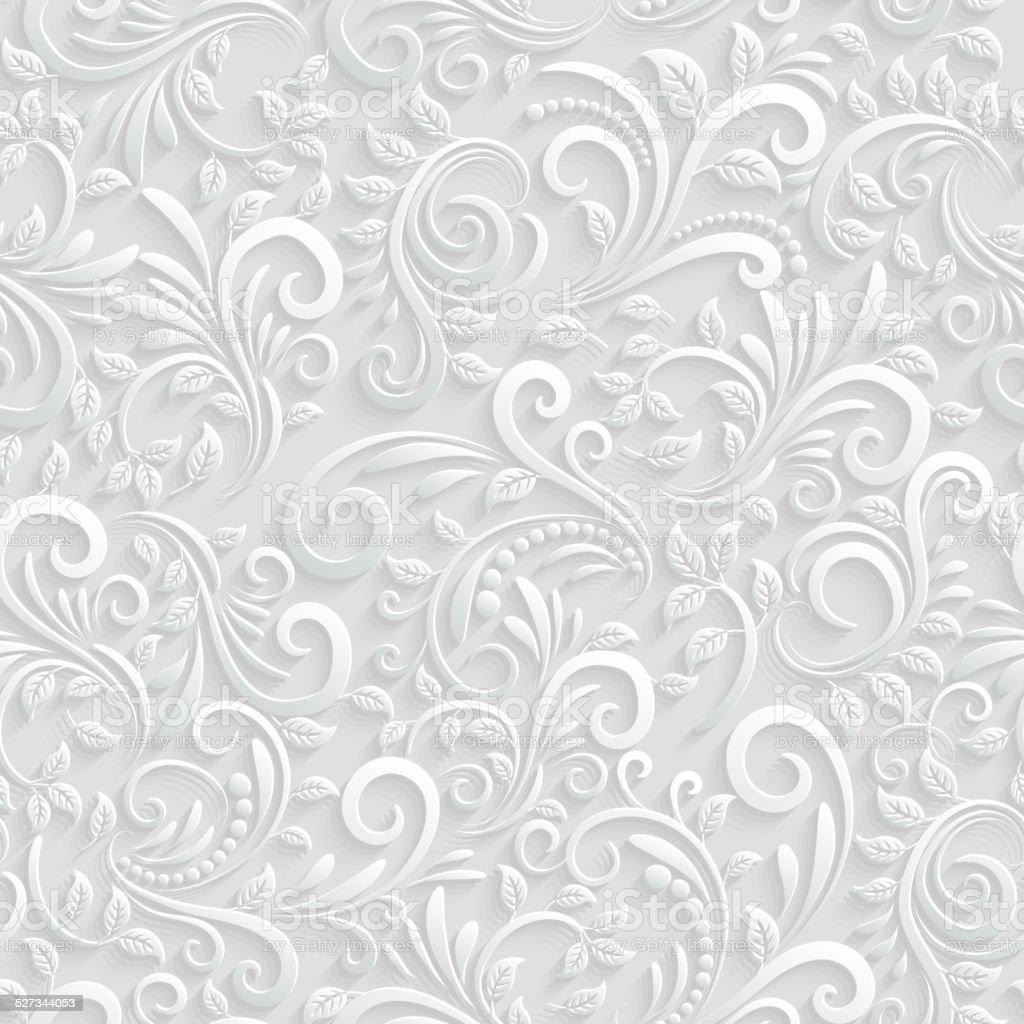 Floral 3d Seamless Background vector art illustration