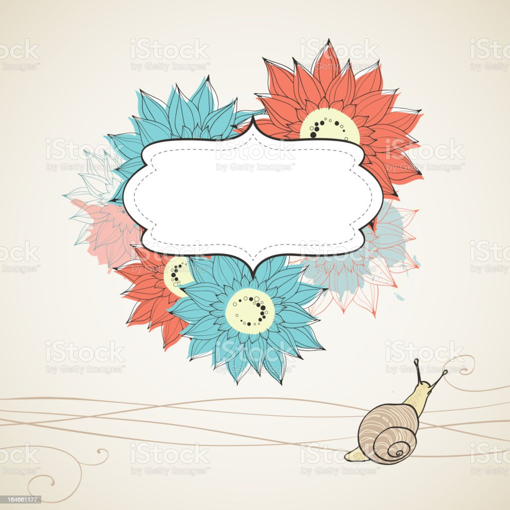 Floral abstract background. Asters and snail. royalty-free stock vector art