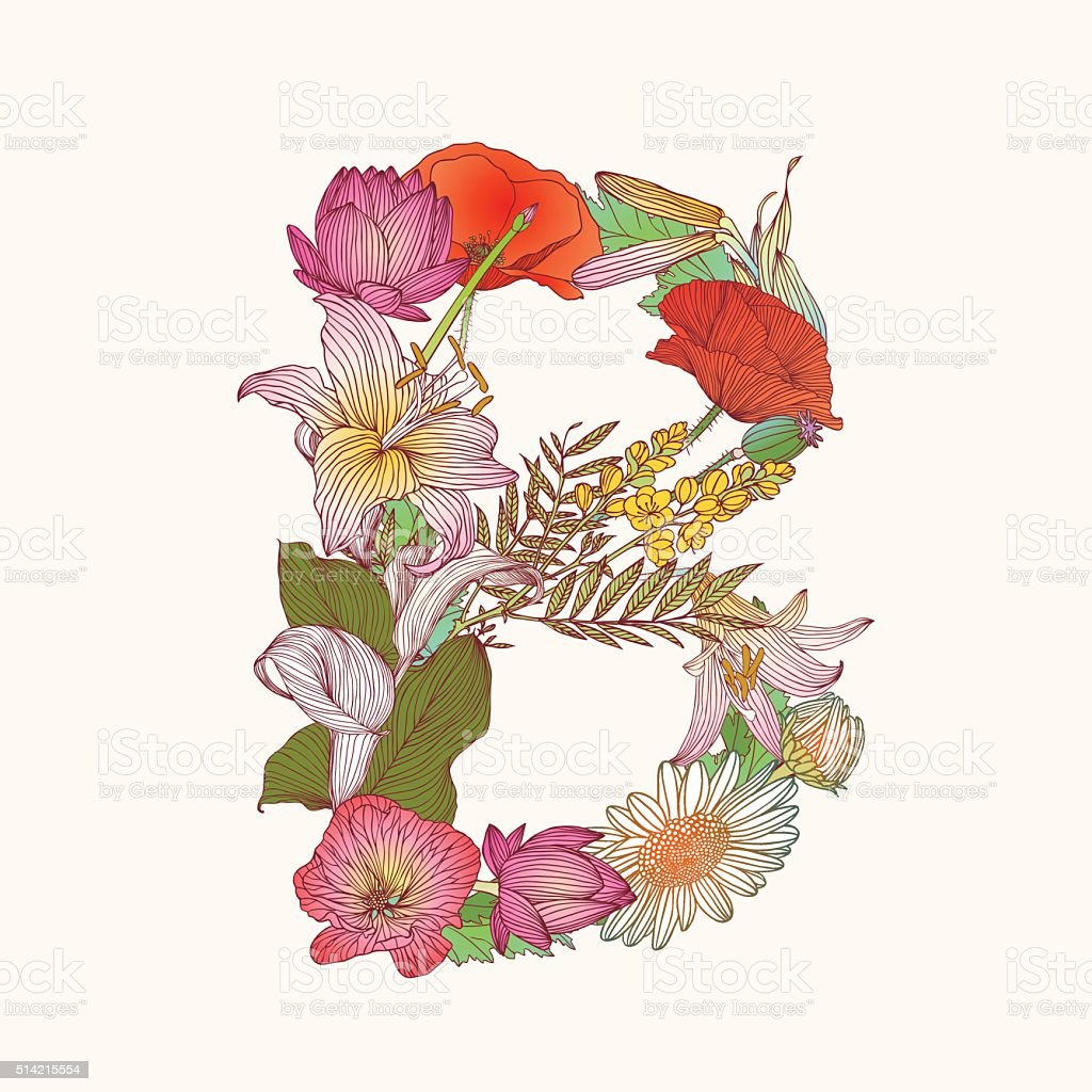 Floral alphabet. Letter B vector art illustration